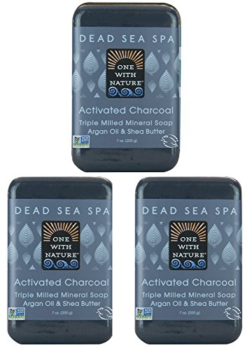 DEAD SEA Salt CHARCOAL SOAP 3 pk – Activated Charcoal, Shea Butter, Argan Oil. For Problem Skin, Skin Detox, Acne Treatment, Eczema, Psoriasis, Antibacterial, Anti Aging, Natural Fragrance 3/7 oz Bars