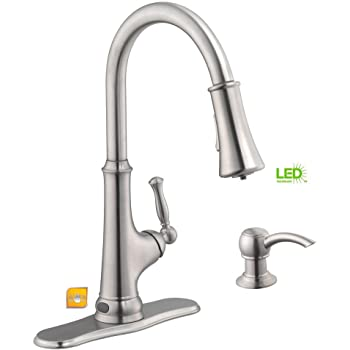 Glacier Bay Touchless Single Handle Pull Down Sprayer Kitchen Faucet With Led Light Amazon Com