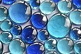Bazare Masud e.K. 350g Glasnuggets Blaumix in 3 Versch. Größen 12-15mm, 17-21mm und 26-33 mm, ca. 81 Stück Dekosteine Glassteine, Muggelsteine - 5