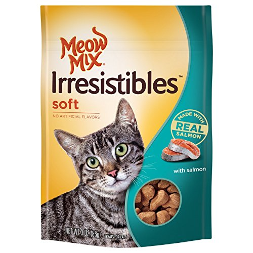 Meow Mix Irresistibles Soft Cat Treats, Salmon, 3 Ounce Bag (Pack of 5)
