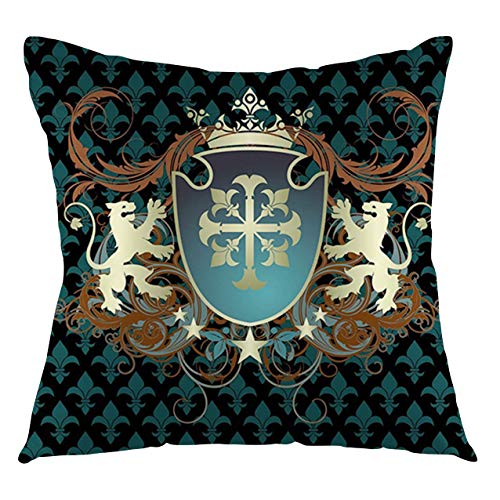 FULIYA Medieval Throw Pillow Cushion Cover Heraldic Design from Middle Ages Coat of Arms Crown Lions and Swirls Decorative Square Accent Pillow Case, 20' X 20',Teal Cinnamon