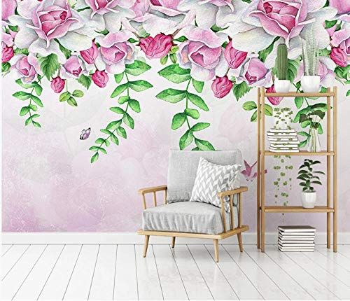 Rosa flores pájaro mariposa papel pintado mural dormitorio sala de estar hogar fondo pared 200×150cm