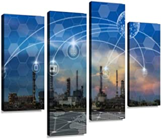 Communication Network with multichannel Omni Channel of Oil and Gas Canvas Wall Art Hanging Paintings Modern Artwork Abstract Picture Prints Home Decoration Gift Unique Designed Framed 4 Panel