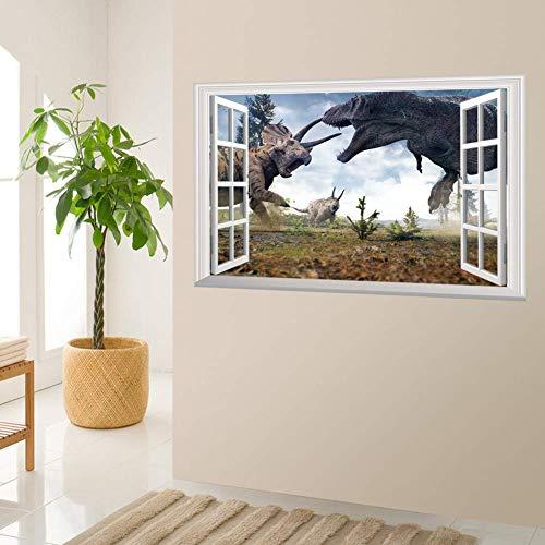 GWFVA 3D Sticker St r o Sticker Dinosaur Woonkamer Slaapkamer Faux Raam Decoreren Sticker 48,5 * 72 Cm