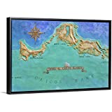 Mural Map of Turks and Caicos Islands Black Float Frame Canvas Art, Map Artwork