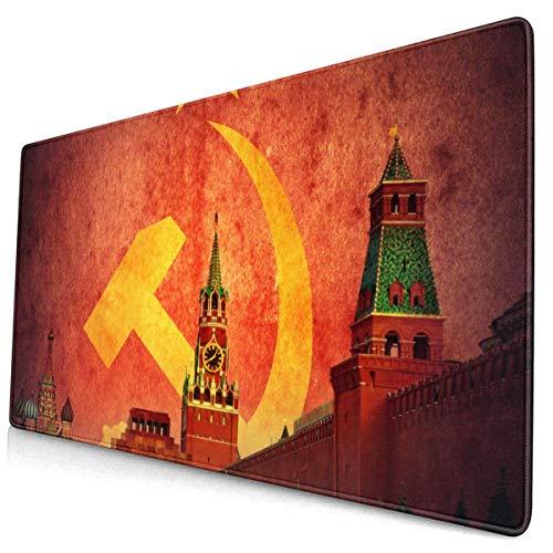 HENTIN Antislip rubberen gamingmuismat, rechthoekig muismat Geel Stalin Sovjet-communistisch Moskou Kremlin op USSR-vlag Retro socialistisch