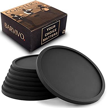 Barvivo Drink Coasters by Set of 8 - Tabletop Protection For Any Table Type, Wood, Granite, Glass, Soapstone, Sandstone, Marble, Stone Tables - Perfect Soft Coaster Fits Any Size of Drinking Glasses.