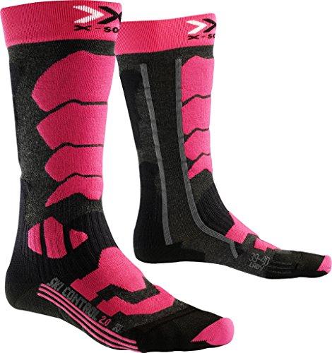 X-SOCKS Ski Control 2.0 Lady Chaussettes de Ski Femme Anthracite/Fuchsia FR: XL (Taille Fabricant: 41-42)