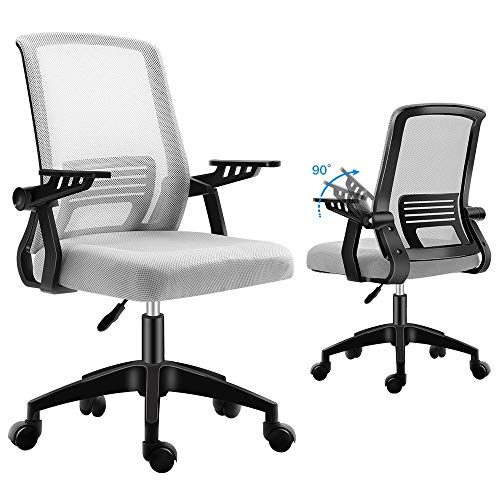 Ergonomic Office Chair, mesh Computer Desk Chair with Wheels Rolling Chair for Home Office Modern Cheap Comfy Office Chairs with arms Height Adjustable Back Lumbar Support Grey Task Chair (Grey)
