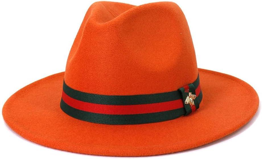 CDDKJDS Solid Color Chain Single Side Felt Fedora Hats Elegant Men Women Wide Brim Trilby Cap Sun hat (Color : 17, Size : 59-60cm)