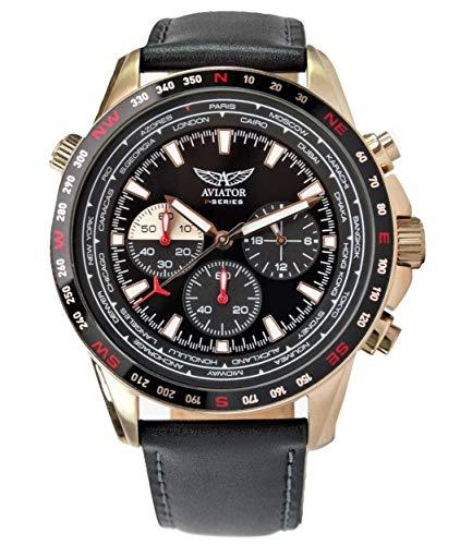 Reloj Aviator para Hombres Aviación Deporte Cuarzo Vuelo Aviadores Correa Cuero Rosa Oro Caja Impermeable 10 ATM Pilot Cronógrafo Reloj de Pulsera