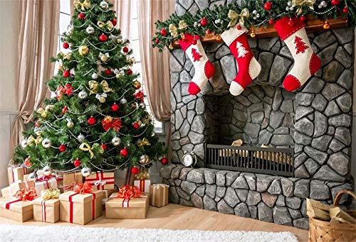 Cassisy 3x2m Vinyl Weihnachten Fotohintergrund Weihnachtskamin Anzeige Weihnachtsfeier Hintergrund Fotoleinwand Hintergrund für Fotoshoot Fotostudio Requisiten Photo Booth