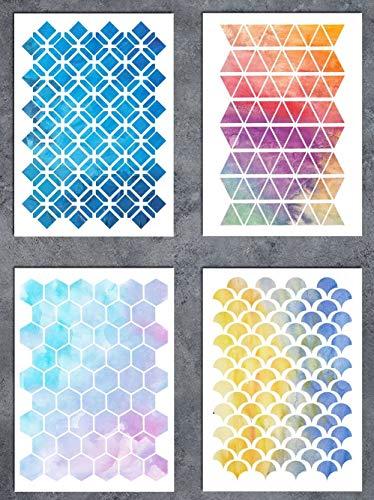 GSS Designs Mustern Schablone Set-Sechseck (4Stück) Dreiecke Fish Scale Oriental A5(15,2x 21cm 152x 210mm)–Art Gemälde für Karte machen Leinwand Möbel
