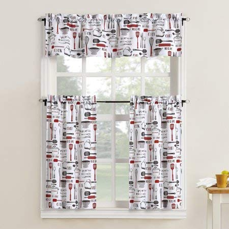 Mainstay Kitchen Utensils Motifs 3 Piece Kitchen Curtain Tier and Valance Set,Red,54x37