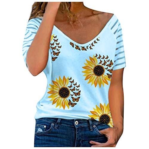 FMYONF Camiseta de mujer con estampado de corazones, cuello en V, manga corta, informal, a rayas, para verano, sexy, ocio, holgada, túnica (azul D, 3XL)