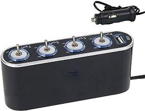 12 فولت 4 طرق متعدد المقبس شاحن سيارة سيارة سيارة السيارات ولاعة السجائر المقبس المقبس مع منفذ USB قابس محول