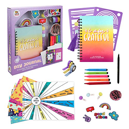 DIY Gratitude Affirmation Journal for Girls, Journaling Set - Journal Kit Includes 100 Page Journal, Stickers, Keychain, Markers, Washi Tape & Poster. Great 10 Year Old Teen Girl Gifts!