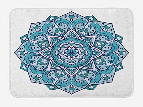 ABAKUHAUS Mandala Azul Tapete para Baño, Rizado Flor del Este, Decorativo de Felpa Estampada con Dorso Antideslizante, 45 cm x 75 cm, Jade Verde Oscuro del Trullo