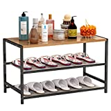 Plasaig - Estante para zapatos, estantes de malla ajustables horizontales o inclinados, almacenamiento de zapatos de estilo industrial, para entrada, salón (3 niveles)