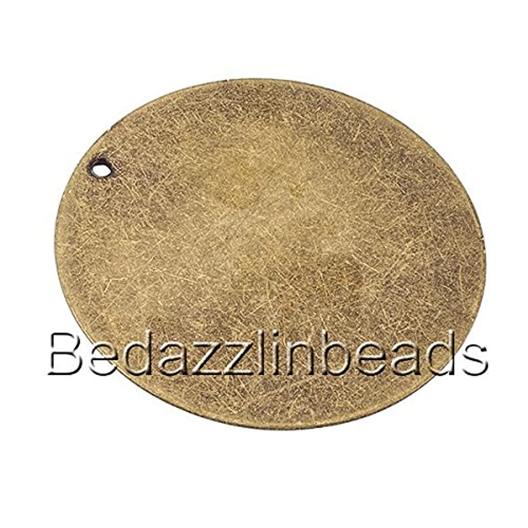 6 Big 1 5/16 inch Antiqued Flat Round Blank Engravable Stamping Coin Charm Pendants (Antique Bronze)