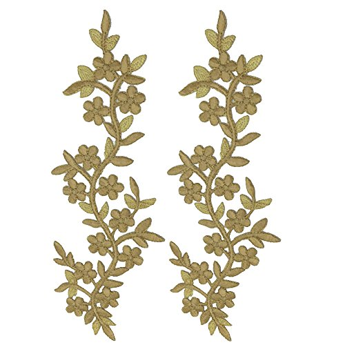 2pcs Cream Flowers Iron On Patches Garment Applique Embroidery DIY Accessory Cheongsam Skirt Clothes (Cream B)