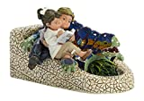 Nadal Figura Decorativa Leyendo Junto al dragón, Resina, Multicolor, 13.50x10.50x8.50 cm