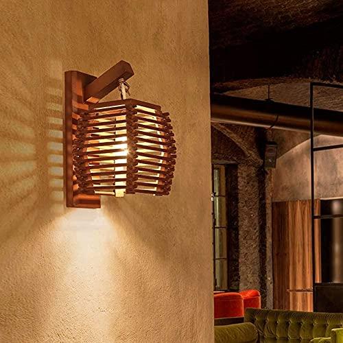 KDLAK Lámpara de pared de madera retro creativa Led Art Lantern Tienda de ropa Restaurante Cafetería Dormitorio nostálgico Sala de estar Pasillos de noche Luces de pared