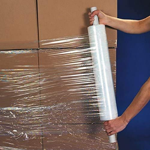 """uBoxes Large Cast Stretch Wrap 20"""" Roll with Handle 1000' 80 Gauge"""