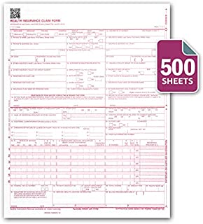 CMS 1500 / HCFA 1500 Insurance Claim Forms - Laser/Ink-Jet Compatible (New Version 02/12) Letter Size 8-12