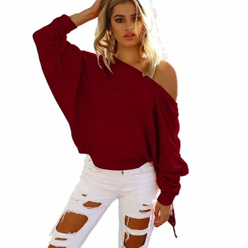 Women Shirt,IEason 2017 Hot Sale! Womens One Shoulder Baggy Ladies Tops Chunky Knitted Oversized Sweater Jumper