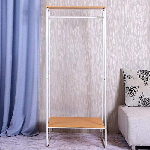 ZXL Meubel-kledingrek, metalen hoed, kledingrek ophanger, vrijstaande hal ophangbeugel met 2-traps houten plank, voor slaapkamer hal (kleur: zwart)