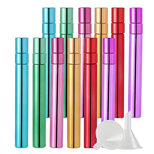 BasicPacking 12 Pieza 10ml Perfume Frasco de Cristal Vistoso Brillante con Pulverizador para Perfume, Mini Botella de Vidrio con Bomba en Spray Atomizador, Recargable + 4 x Embudo