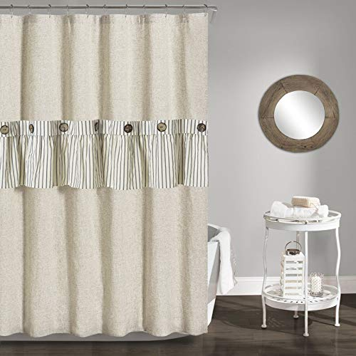DOSLY IDÉES Linen Button Farmhouse Shower Curtain,Gray Striped Linen and Cotton Fabric,71.5x72 in