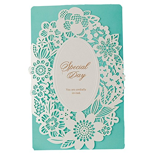 100X WISHMADE Blue Aquamarine Floral Laser Cut Tri-Fold Embossed Invitation for Wedding Anniversary Engagement Bridal Shower CW002