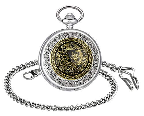 Unendlich U- Números Romanos Dragon de China Patrón Hueco Mecánico Reloj de Bolsillo Idea Regalo para Hombre Mujer