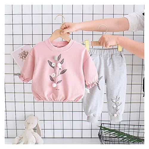 Youpin Ropa infantil para bebés y niñas, conjuntos de ropa de primavera y otoño para niñas, trajes de deporte de manga larga+pantalones para niños (color: rosa, tamaño de niño: 2 3T)