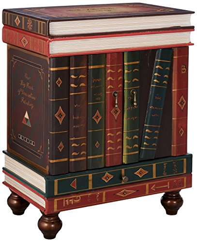 Design Toscano The Lord Byron Vintage Decor Stacked Books End Table Storage Furniture, 28 Inch, MDF Wood, Full Color