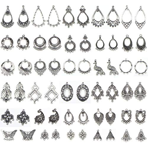 JIALEEY Antiqued Tibetan Silver Earring Chandelier Earring Jewelry Making Kit for Earring Drop and Charm Pendant Assorted Pack (30Pair 60Pcs)