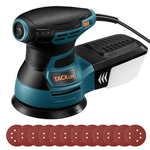 TACKLIFE Random Orbit Sander 13000 RPM 5Inch Electric Sander with 6 Variable Speed High Performance Dust Collection System 12 Pcs Sandpapers Blue Sander for Woodworking PRS01AS