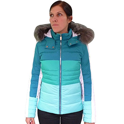 WEST SCOUT Real Down Ski Jacket Damen Skijacke türkis weiß (42)
