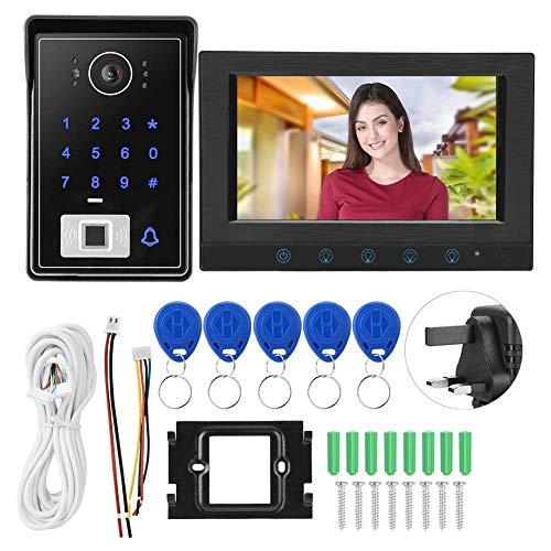 JUNYYANG Video Doorbell Sistema telefónico, WiFi de 7 Pulgadas WiFi Video Intercom Tim Towlell IR Tarjeta de Huella Dactilar Contraseña Sistema de Timbre