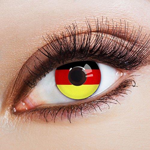 aricona Kontaktlinsen - Farbige Kontaktlinsen Flaggen Motivlinsen – Kontaktlinsen ohne Stärke mit Flaggen-Motiv für Karneval, Fasching und Kostüm-Partys, 2 Stück