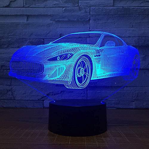 Lámpara de luz 3D 7 colores Supercar USB 7 colores Sensor táctil Niño Niños Regalo Lámpara de mesa Decoración de escritorio-16 colors remote
