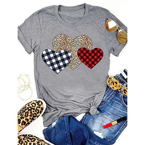 Regalos de decoración de San Valentín, estampado de leopardo a cuadros, camiseta para mujer, día de San Valentín, divertido patrón de corazón