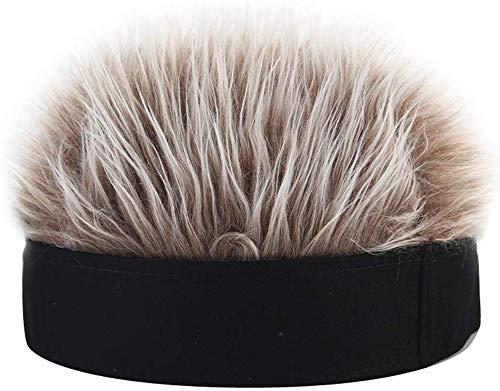 Gorra de Peluca Corta - Hombres Mujeres Novedad Gorro con Pelo Falso con Pinchos Divertido (Black Hat Coffee Wig)