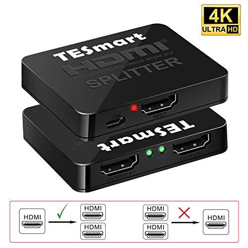 HDMI分配器 1入力2出力 hdmiスプリッター 1X2 HDMI Splitter 2台のHDMI搭載機器に出力 4K@30Hz対応 2ポート出力 2分配器 PS3 DVDプレーヤー HDTV対応 USB給電 12ヶ月保証付き TESmart (2po