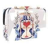 Bolsa de cosméticos para Mujeres Pareja Reloj de Arena Dibujos Animados Adorable Espacioso Bolsas de Maquillaje Viaje Impermeable Neceser Accesorios Organizador 7.3x3x5.1 Pulgadas