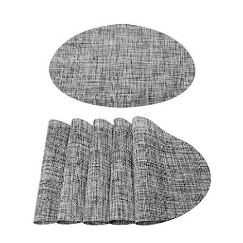 Sourcingmap - Manteles individuales lavables (6 unidades, resistentes al calor, tejido cruzado, antideslizantes, alfombrillas de aislamiento para mesa de comedor de cocina, ovaladas, gris, 45 x 30 cm)