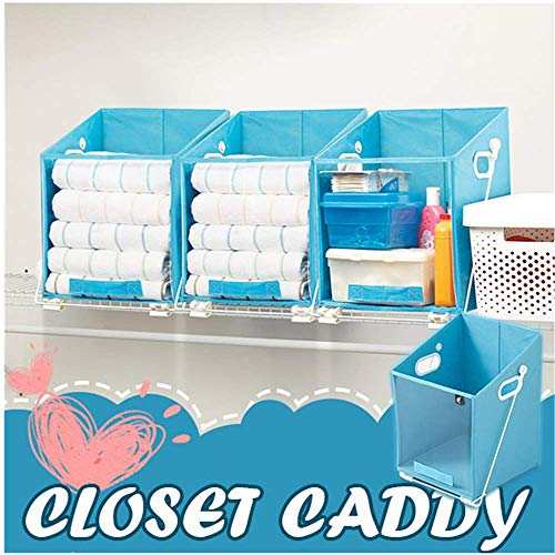 Closet Caddy Dirty Clothes Storage Organizer Case - Closet Caddy-Retrieve Items from High Shelves Safely and Easily, Foldable Laundry Organiser Dirty Clothes Storage Baske for Bedroom/Bathroom (Blue)
