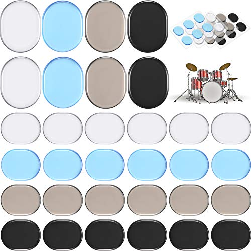 4 Colors Drum Mute Pads for Drums Tone Control Non-toxic Silicone Drum Silencers Soft Drum Dampening Gel Pads 30 PCS Drum Dampeners Gel Pads
